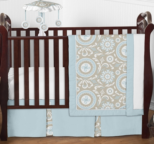 Blue and Taupe Hayden Baby Bedding - 4pc Crib Set by Sweet Jojo Designs - Click to enlarge