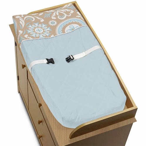 Blue and Taupe Hayden Baby Changing Pad Cover by Sweet Jojo Designs - Click to enlarge