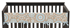 Blue and Taupe Hayden Baby Crib Long Rail Guard Cover by Sweet Jojo Designs