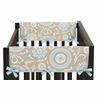 Blue and Taupe Hayden Baby Crib Side Rail Guard Covers by Sweet Jojo Designs - Set of 2