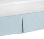 Blue and Taupe Hayden Bed Skirt for Toddler Bedding Sets by Sweet Jojo Designs
