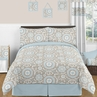 Blue and Taupe Hayden Childrens and Kids Bedding - 3pc Full / Queen Set by Sweet Jojo Designs