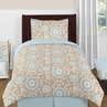 Blue and Taupe Hayden Childrens and Kids Bedding - 4pc Twin Set by Sweet Jojo Designs