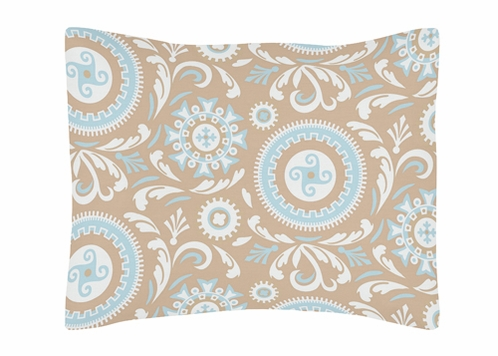 Blue and Taupe Hayden Pillow Sham by Sweet Jojo Designs - Click to enlarge