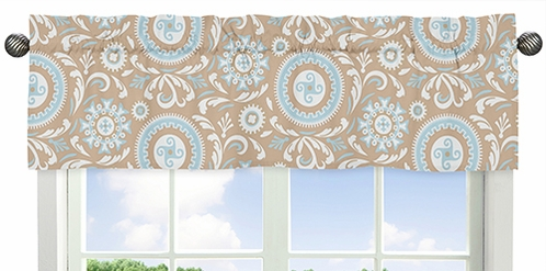 Blue and Taupe Hayden Window Valance by Sweet Jojo Designs - Click to enlarge