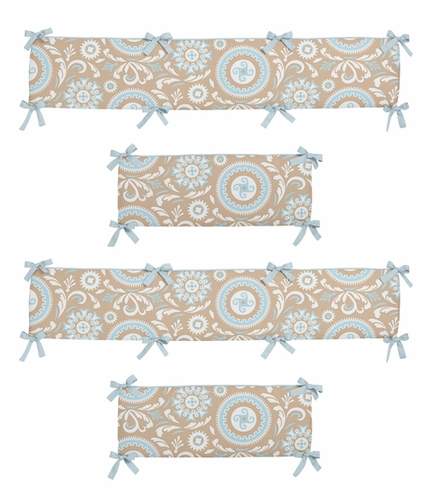 Blue and Taupe Hayden Collection Crib Bumper by Sweet Jojo Designs - Click to enlarge