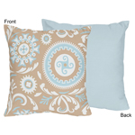 Blue and Taupe Hayden Decorative Accent Throw Pillow by Sweet Jojo Designs