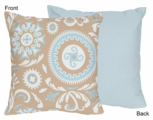 Blue and Taupe Hayden Decorative Accent Throw Pillow by Sweet Jojo Designs - Click to enlarge