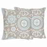 Blue and Taupe Hayden Decorative Accent Throw Pillows by Sweet Jojo Designs - Set of 2