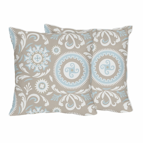 Blue and Taupe Hayden Decorative Accent Throw Pillows by Sweet Jojo Designs - Set of 2 - Click to enlarge