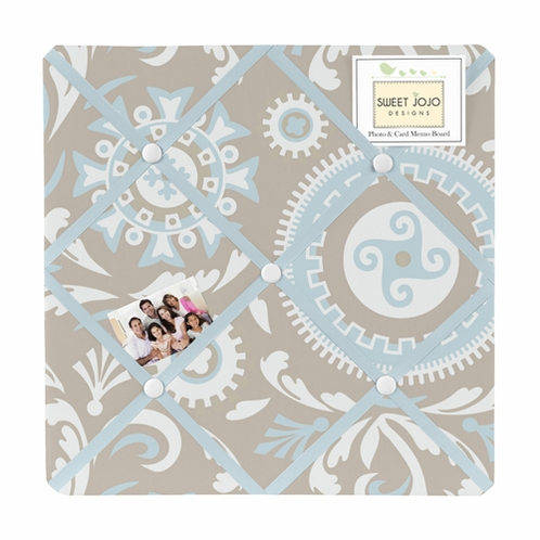 Blue and Taupe Hayden Fabric Memory/Memo Photo Bulletin Board by Sweet Jojo Designs - Click to enlarge