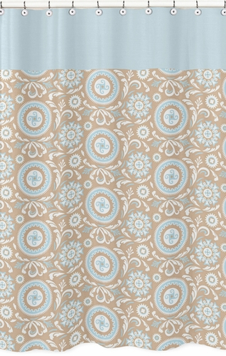 Blue and Taupe Hayden Kids Bathroom Fabric Bath Shower Curtain by Sweet Jojo Designs - Click to enlarge