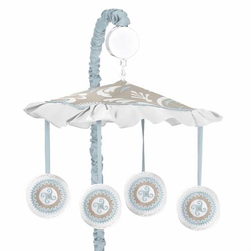 Blue and Taupe Hayden Musical Baby Crib Mobile by Sweet Jojo Designs - Click to enlarge
