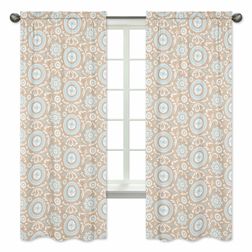 Blue and Taupe Hayden Print Window Treatment Panels by Sweet Jojo Designs - Set of 2 - Click to enlarge