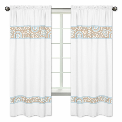 Blue and Taupe Hayden Window Treatment Panels by Sweet Jojo Designs - Set of 2 - Click to enlarge