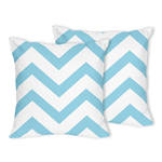 Turquoise and White Chevron Zig Zag Decorative Accent Throw Pillows - Set of 2