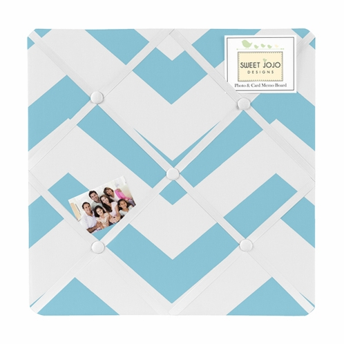 Turquoise and White Chevron Zig Zag Fabric Memory/Memo Photo Bulletin Board - Click to enlarge