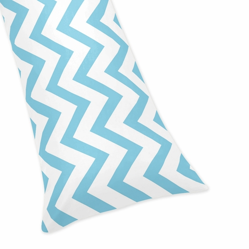 Turquoise and White Chevron Zig Zag Full Length Double Zippered Body Pillow Case Cover - Click to enlarge