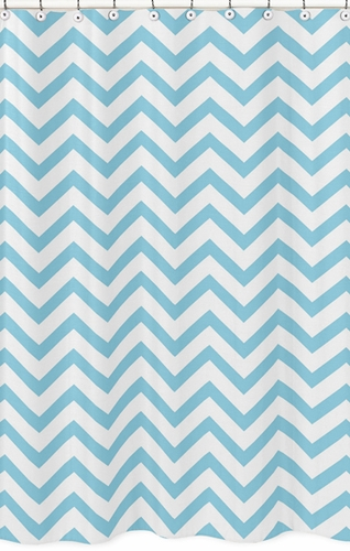 Turquoise and White Chevron Zig Zag Kids Bathroom Fabric Bath Shower Curtain - Click to enlarge