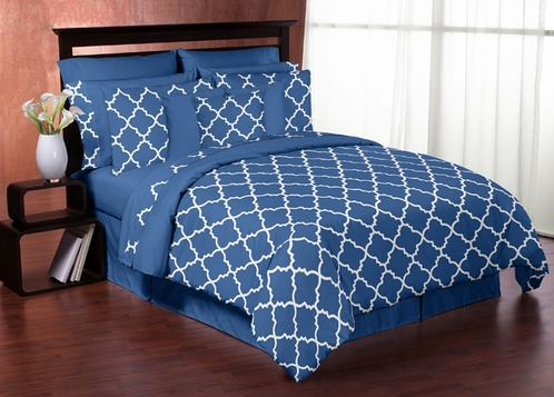 Blue and White Trellis 3pc Childrens and Teen Full / Queen Bedding Set by Sweet Jojo Designs - Click to enlarge