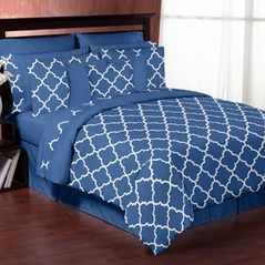 Blue and White Trellis 3pc Bed in a Bag King Bedding Set by Sweet Jojo Designs