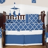 Blue and White Trellis Baby Bedding - 9pc Crib Set by Sweet Jojo Designs