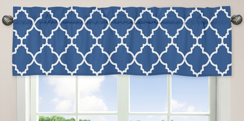 Blue and White Trellis�Collection Window Valance - Click to enlarge