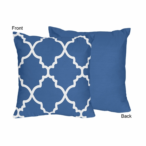 Blue and White Trellis Decorative Accent Throw Pillow by Sweet Jojo Designs only $22.99