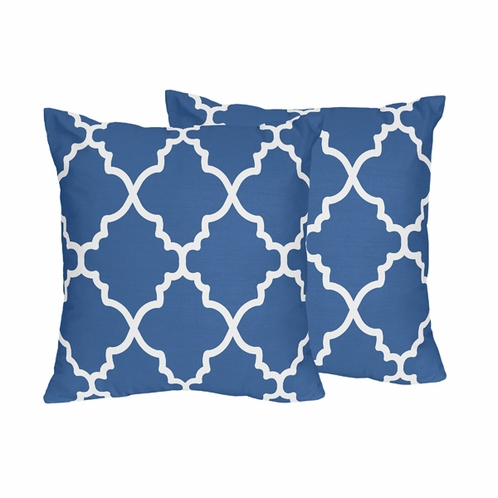 Blue and White Trellis Decorative Accent Throw Pillows - Set of 2 - Click to enlarge