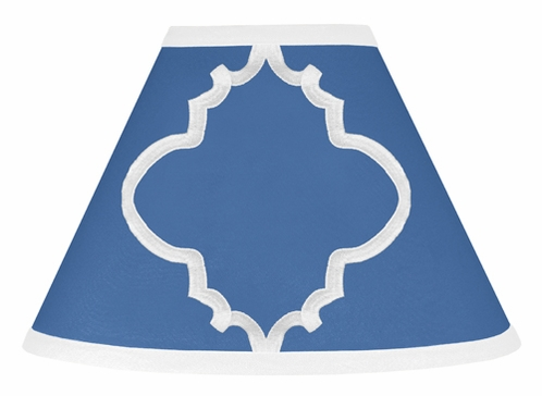 Blue and White Trellis Lamp Shade by Sweet Jojo Designs - Click to enlarge