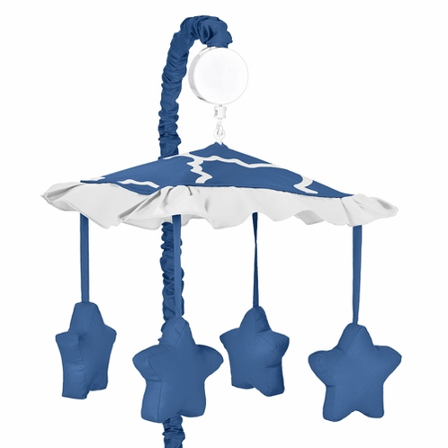 Blue and White Trellis Musical Baby Crib Mobile by Sweet Jojo Designs - Click to enlarge