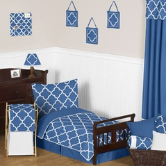 Blue and White Trellis Toddler Bedding - 5pc Set by Sweet Jojo Designs