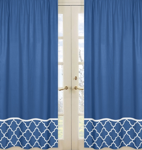 Blue and White Trellis Window Treatment Panels - Set of 2 - Click to enlarge