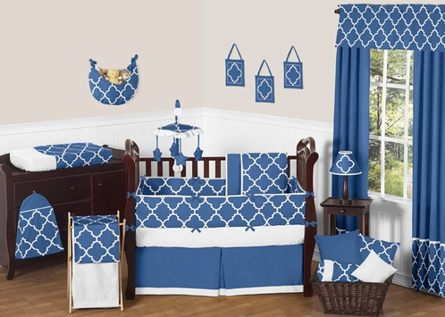 Blue and White Trellis Baby Bedding - 9pc Crib Set by Sweet Jojo Designs - Click to enlarge