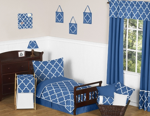 Blue and White Trellis Toddler Bedding - 5pc Set by Sweet Jojo Designs - Click to enlarge