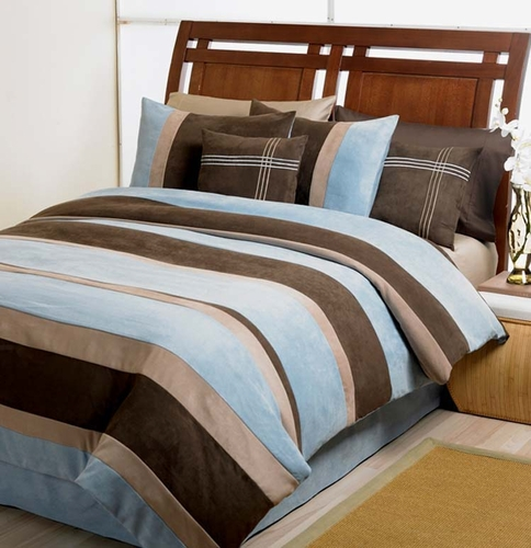 Blue, Chocolate, Camel Jacaranda Striped MicroSuede 6pc Duvet Cover Bedding Set - Click to enlarge