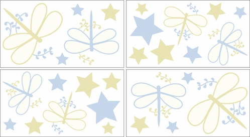 Blue Dragonfly Dreams Baby and Kids Wall Decal Stickers - Set of 4 Sheets - Click to enlarge