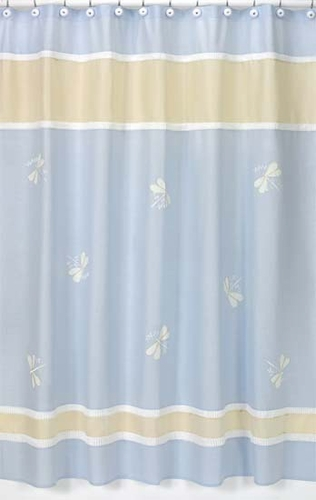Blue Dragonfly Dreams Kids Bathroom Fabric Bath Shower Curtain - Click to enlarge