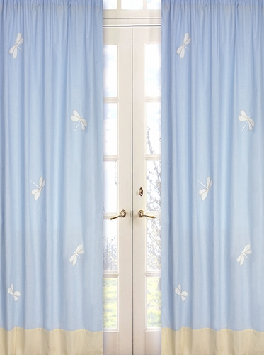 Blue Dragonfly Dreams Window Treatment Panels - Set of 2 - Click to enlarge