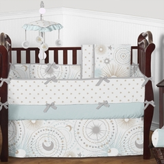Blue, Gold,  Grey and White Celestial Moon and Stars Boy Baby Crib Bedding Set with Bumper by Sweet Jojo Designs - 9 pieces