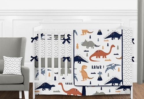 Blue, Grey and Orange Modern Dinosaur Mod Dino 9 Piece Baby Boy or Girl Crib Bedding Set with Bumper - Click to enlarge