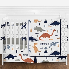 Blue, Grey and Orange Modern Dinosaur Mod Dino 9 Piece Baby Boy or Girl Crib Bedding Set with Bumper