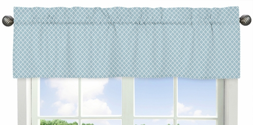 Blue Lattice Window Valance for Woodland Animal Toile Collection by Sweet Jojo Designs - Click to enlarge