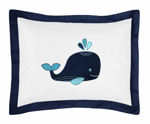 Blue Whale Pillow Sham by Sweet Jojo Designs - Click to enlarge