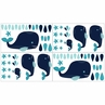 Blue Whale Baby, Childrens and Kids Wall Decal Stickers by Sweet Jojo Designs - Set of 4 Sheets