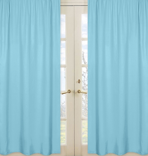 Solid Window Treatment Panels For Turquoise And White Chevron Collection Set Of 2 Only