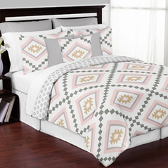 Blush Pink and Grey Boho and Tribal Aztec Girl Full / Queen Kid Childrens Teen Bedding Comforter Set by Sweet Jojo Designs - 3 pieces