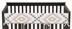 Blush Pink and Grey Boho Long Front Crib Rail Guard Baby Teething Cover Protector Wrap for Aztec Collection by Sweet Jojo Designs