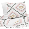 Blush Pink and Grey Boho Twin Sheet Set for Aztec Collection by Sweet Jojo Designs - 3 piece set