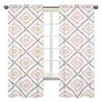 Blush Pink and Grey Boho Window Treatment Panels Curtains for Aztec Collection by Sweet Jojo Designs - Set of 2